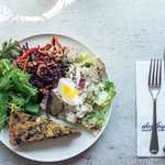 A selection of our deli salads and quiche