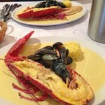 Lobster with mussels in saffron cream sauce