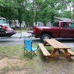 Aussicht vor der Cabin, wenn der Nachbar seinen Parkplatz braucht