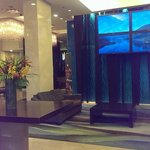 Front reception waiting area, free WiFi on every level of the hotel rooms.