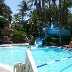 Kid area of the pool with waterslide