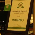 "We recognized Javier with this TripAdvisor ""Excellent Service"" pin."
