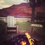 Evening fireside on the Colorado River at the Sorrel River Ranch