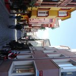 Street view of hotel, nice cobble stone streets.