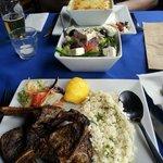 Delicious lamb, Greek salad and Moussaka