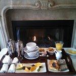 Breakfast each morning in room