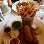 Fish and chips, and steak tartare