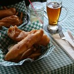 Halibut and chips with a Yukon Gold beer