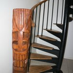 Lots of tiki statues--the spiral staircase went to the upper floor bedroom