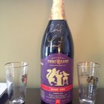 Complimentary jeroboam of Ommegang Rare Vos and pint glasses