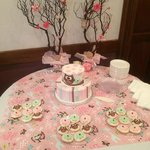 Cake table in Trolley Room for baby shower