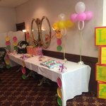 Gift table in Trolley Room for baby shower