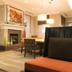 The hotel lobby and fireplace