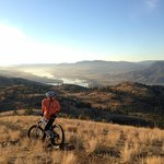 Kenna Cartwright Park, past 'the Tower' Trail, facing panoramic Kamloops Lake. (in September)