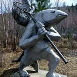 Salmon Shaman sculpture at Sleeping Lady
