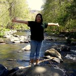 Me standing on the rocking in the middle of the creek, taking in the beautiful view