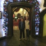 One of many archways decorated for Christmas