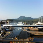 A coastal marina view from the pub looking up Sechelt Inlet.