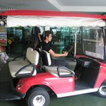 Free golf cart to carry us to MRT