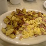 Scrambled ham and eggs