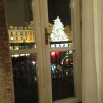 View of the Christmas tree from inside room
