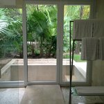 shower area and view of outdoor tub at Patio Junior Suite