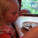 Layla enjoying her pancake.