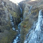 Waterfall during day hike with Alfasteinn