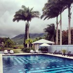 Lounging by the pool with a view of Nevis Peak.