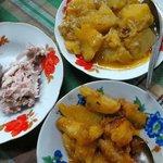 coconut salad, potatoes stew