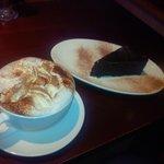 Warm milk (hot chocolate) and mud slice