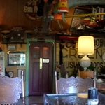 Panorama of the dining room. There is also a small bar.