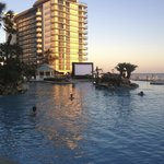 View from our room of the Dive-in movie screen at sunset