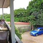 Breakfast on the deck at Mackaya Bella.