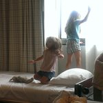 My daughters playing on the roll-away bed.