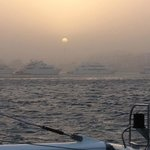 Returning from Catamaran trip to harbour in sand storm!