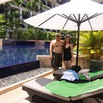 Relaxing outdoor salt water pool and bar