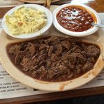 J&W's BBQ beef with potato salad and beans