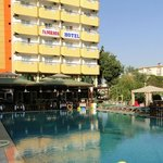 Swimming pool, restaurant and basic view of hotel.
