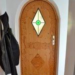 shot of the door from inside the hotel room