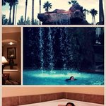 photo collage of room and pool area