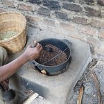 Roasting coffee at the Omwani cooperative
