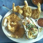 6 fried Shrimp with a baked potato.  Also comes with a big salad.