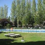 Vista piscina con jardines