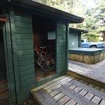 back of cabin 8, good bike storage, hot tub