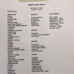 Milkshake menu