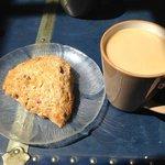 Rhubarb Ginger Scone & coffee