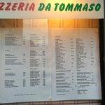 Pizzeria Da Tommaso - Menu