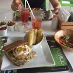 The burger panini, salad and drinks