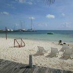 Esta es parte de la playa del hotel, cuenta con una red para voleibol  y porterías para fut.